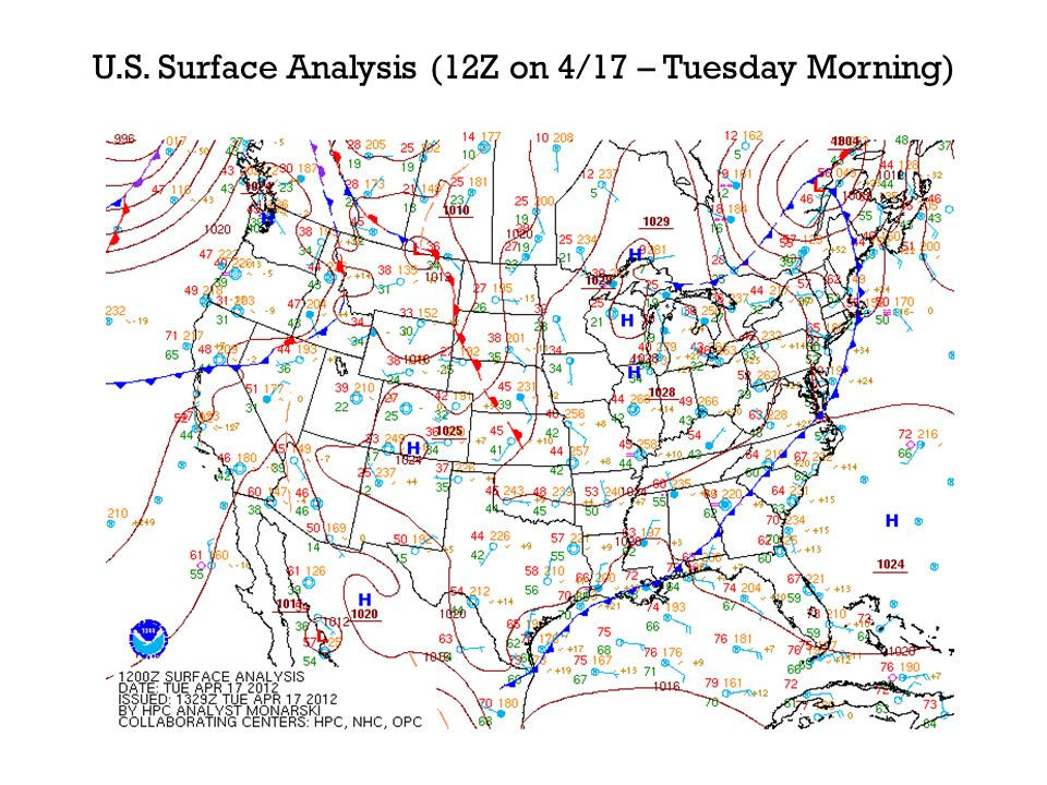 U.S. Surface Analysis (12Z on 4/17 – Tuesday Morning)
