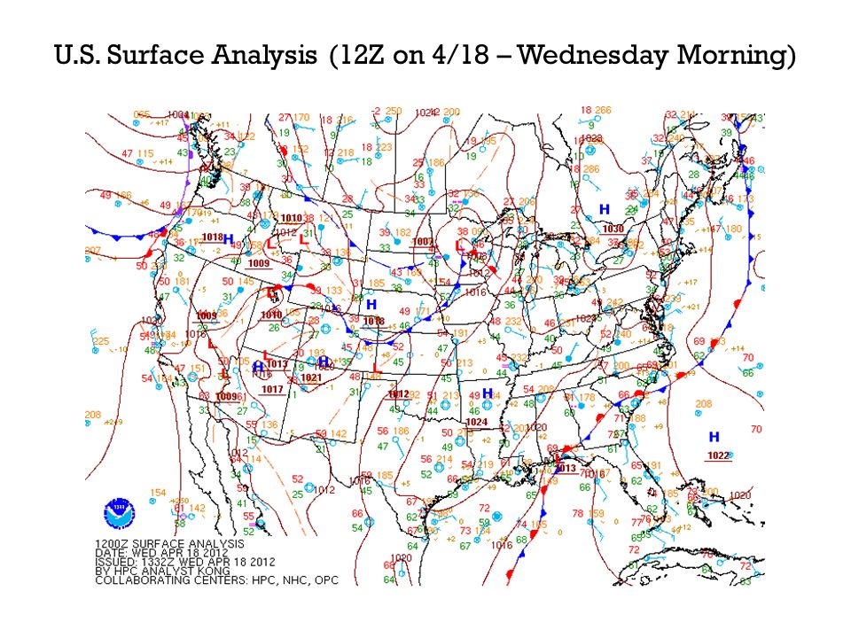U.S. Surface Analysis (12Z on 4/18 – Wednesday Morning)