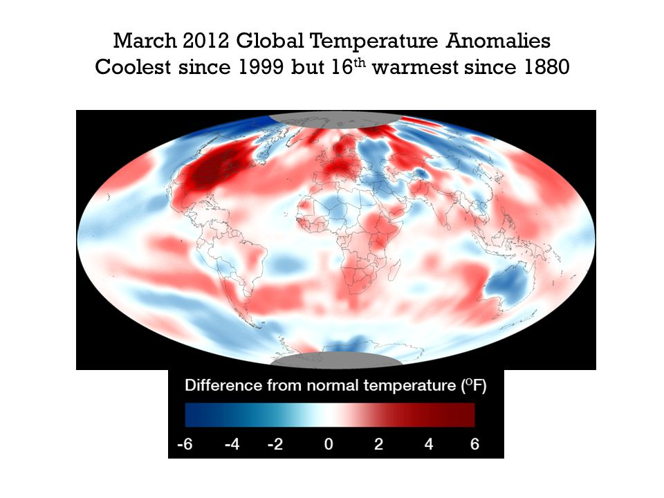 March 2012 Global Temperature Anomalies Coolest since 1999 but 16 th warmest since 1880
