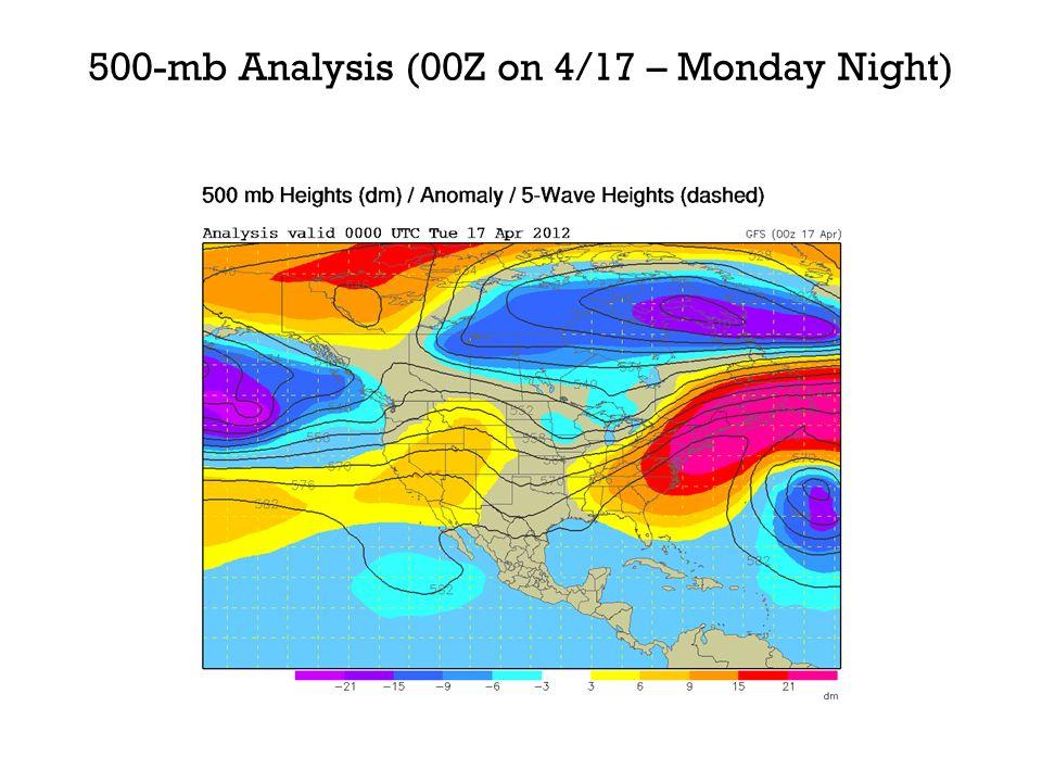 500-mb Analysis (00Z on 4/17 – Monday Night)