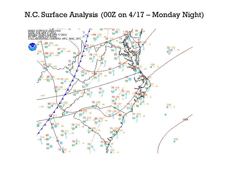 N.C. Surface Analysis (00Z on 4/17 – Monday Night)