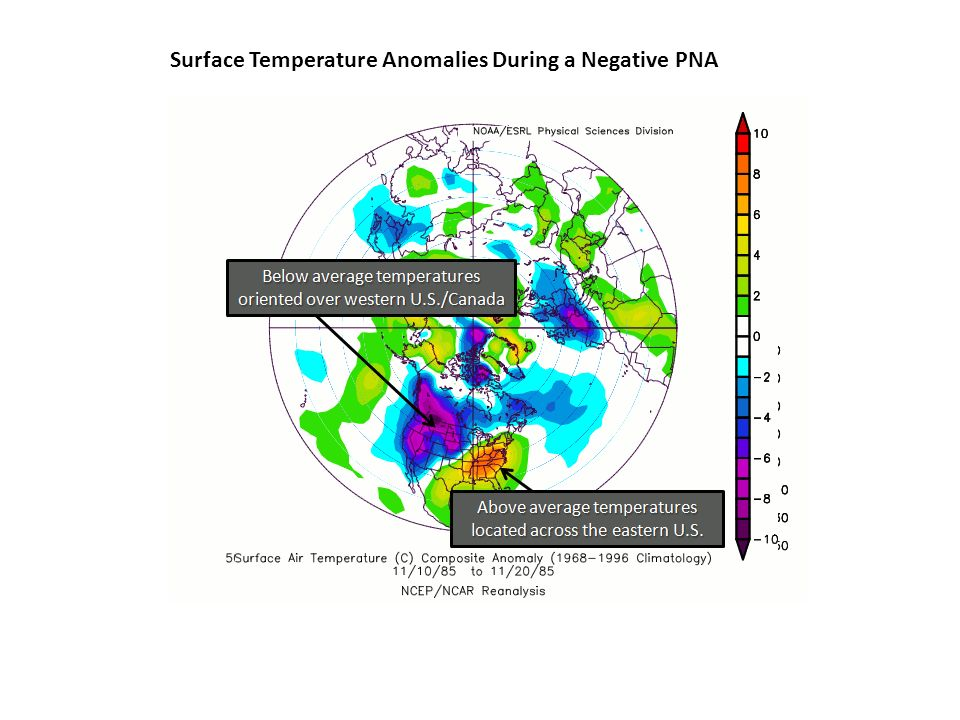Surface Temperature Anomalies During a Negative PNA
