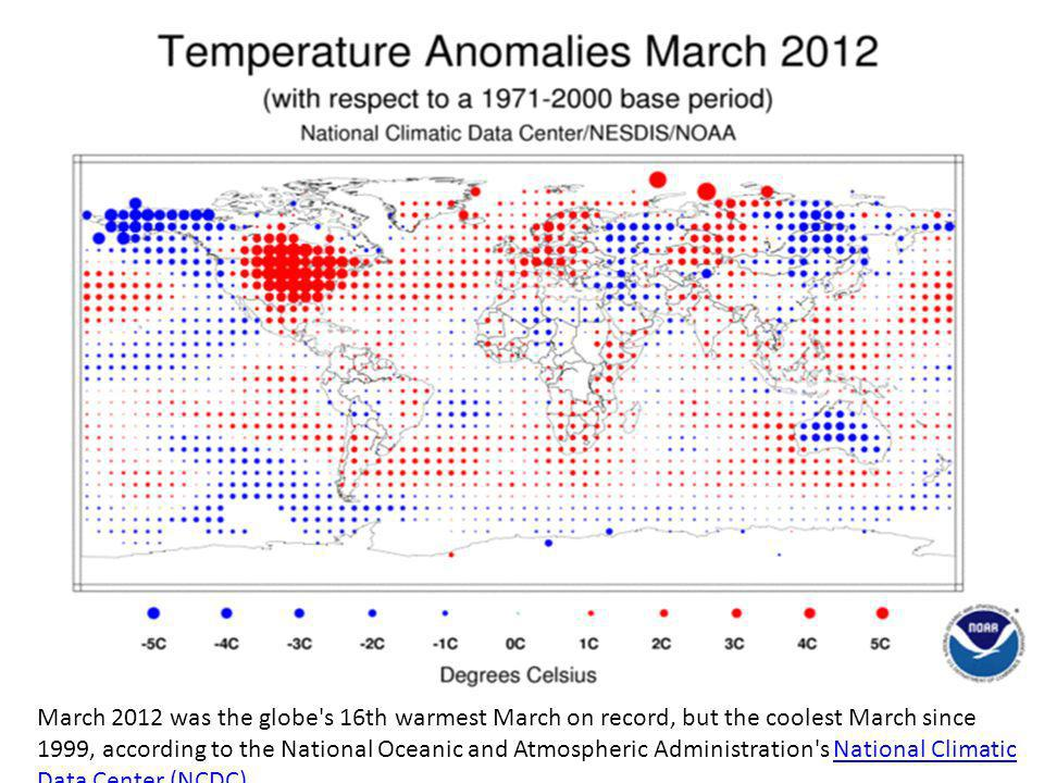 March 2012 was the globe s 16th warmest March on record, but the coolest March since 1999, according to the National Oceanic and Atmospheric Administration s National Climatic Data Center (NCDC)National Climatic Data Center (NCDC)