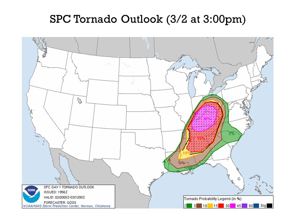 SPC Tornado Outlook (3/2 at 3:00pm)