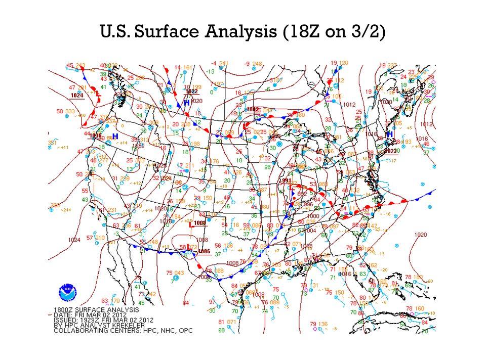 U.S. Surface Analysis (18Z on 3/2)