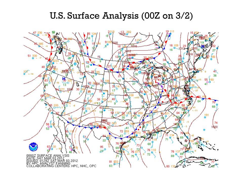 U.S. Surface Analysis (00Z on 3/2)