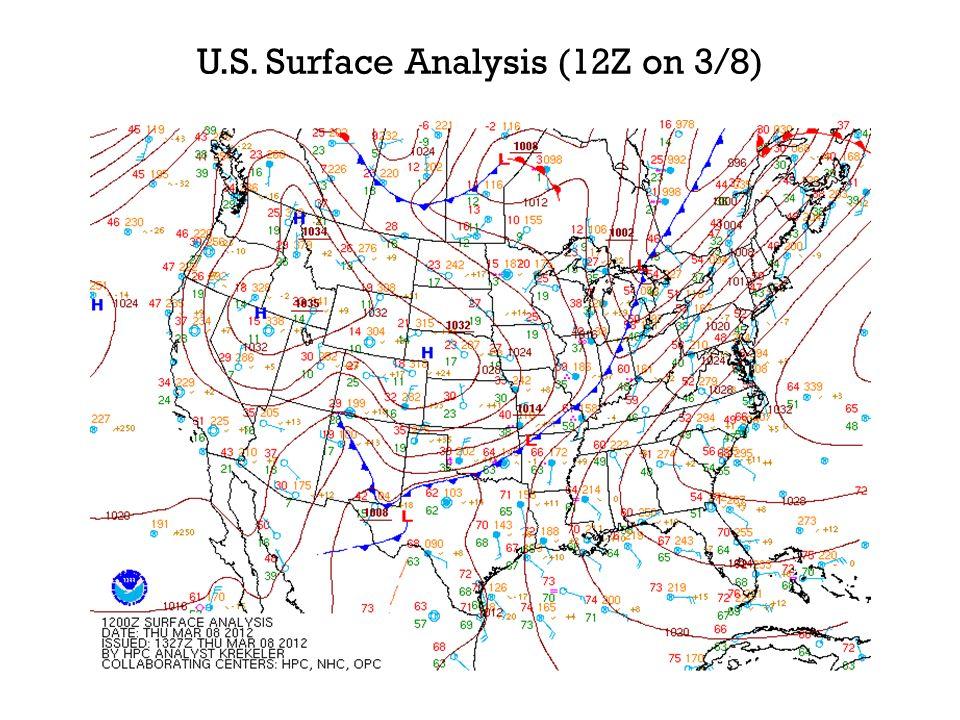 U.S. Surface Analysis (12Z on 3/8)