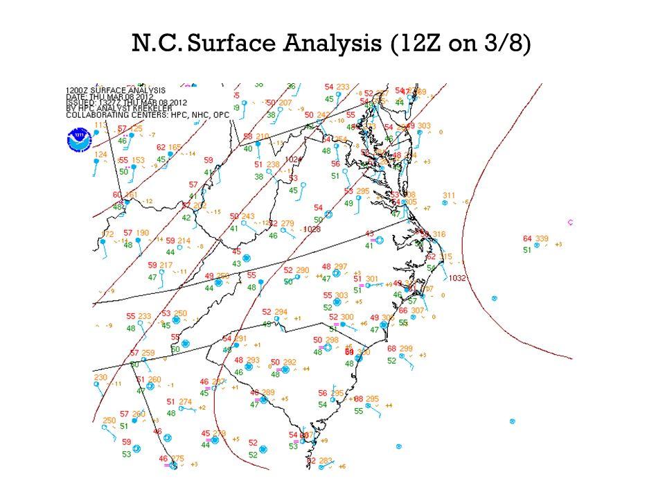 N.C. Surface Analysis (12Z on 3/8)