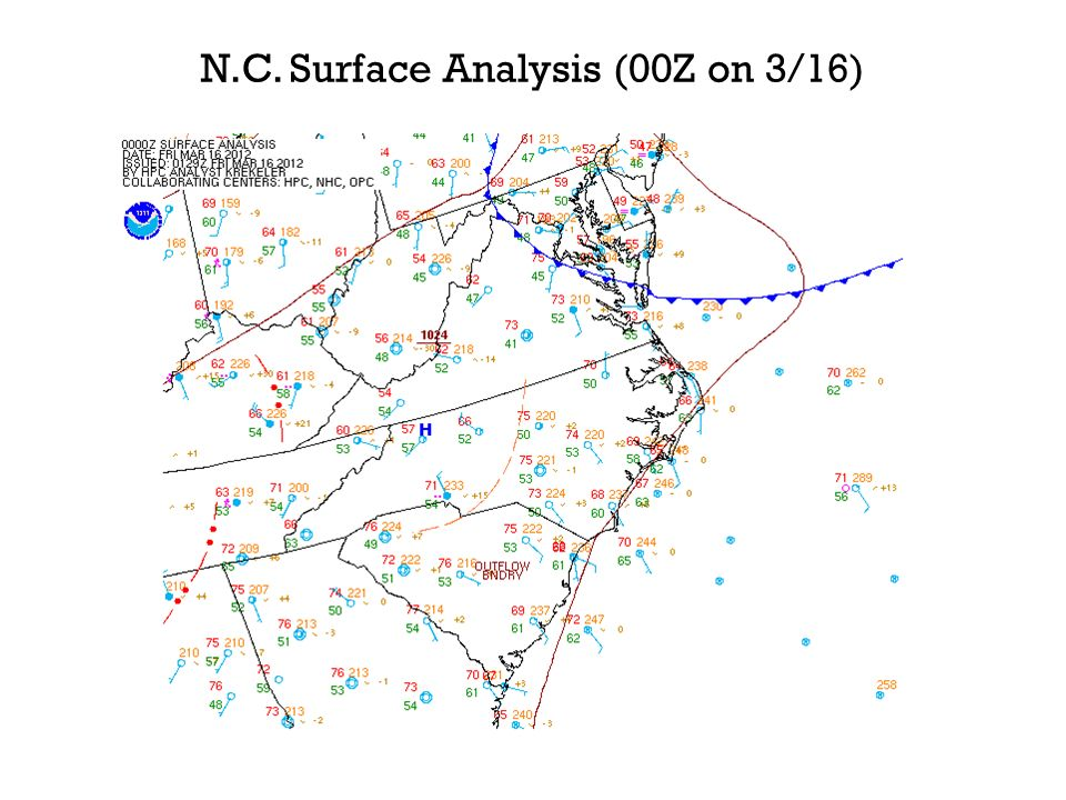 N.C. Surface Analysis (00Z on 3/16)