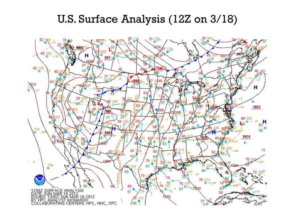 U.S. Surface Analysis (12Z on 3/18)