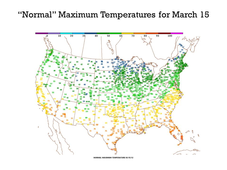 Normal Maximum Temperatures for March 15