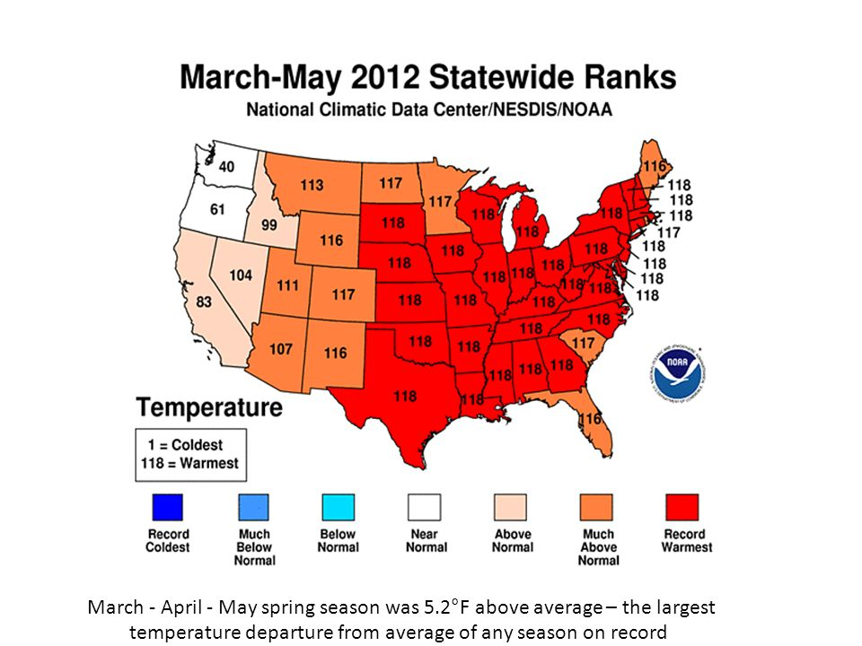 Figure 2.Three of the top ten warmest 12-month periods in the contiguous U.S.