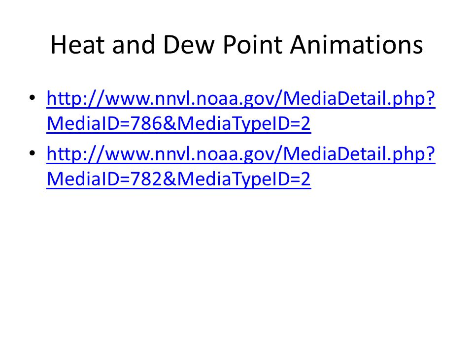 Heat and Dew Point Animations http://www.nnvl.noaa.gov/MediaDetail.php.