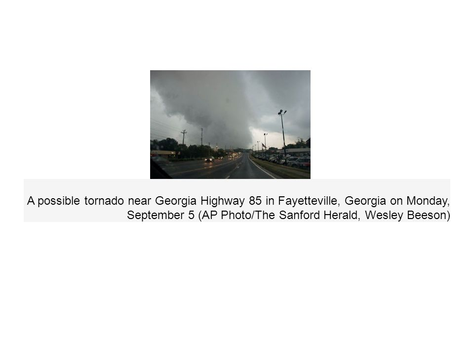 A possible tornado near Georgia Highway 85 in Fayetteville, Georgia on Monday, September 5 (AP Photo/The Sanford Herald, Wesley Beeson)