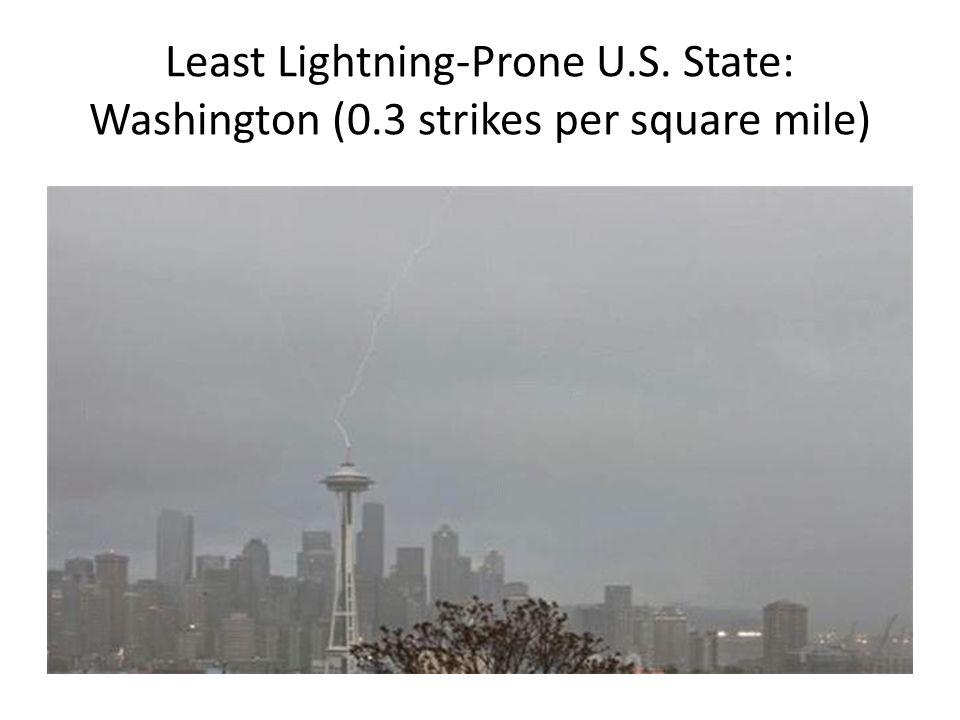 Least Lightning-Prone U.S. State: Washington (0.3 strikes per square mile)