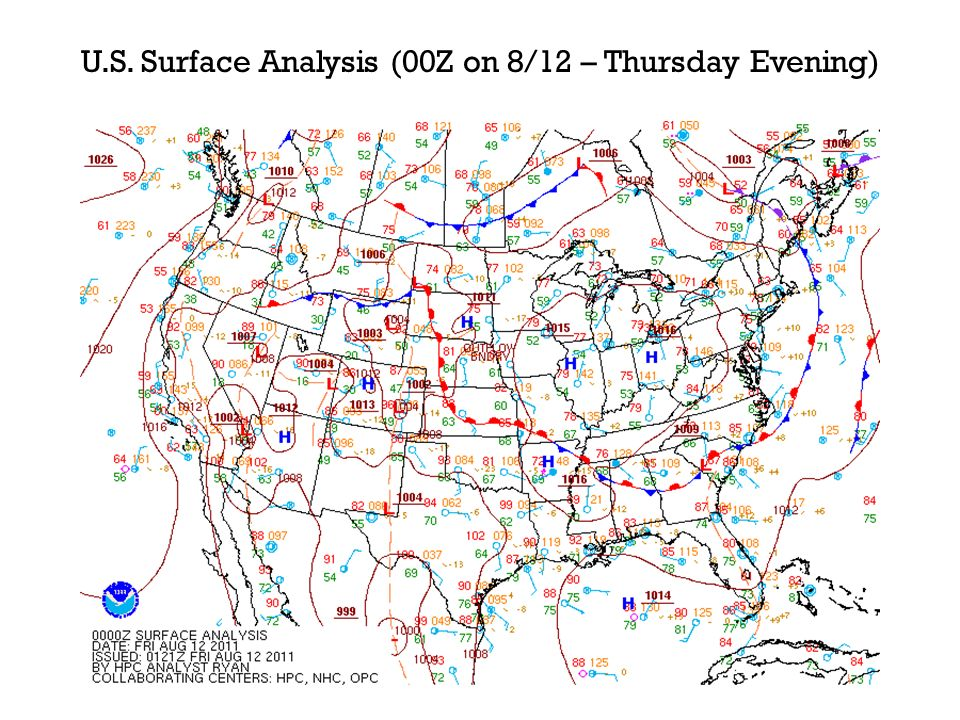 U.S. Surface Analysis (00Z on 8/12 – Thursday Evening)