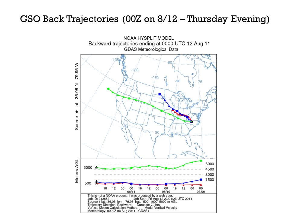 GSO Back Trajectories (00Z on 8/12 – Thursday Evening)