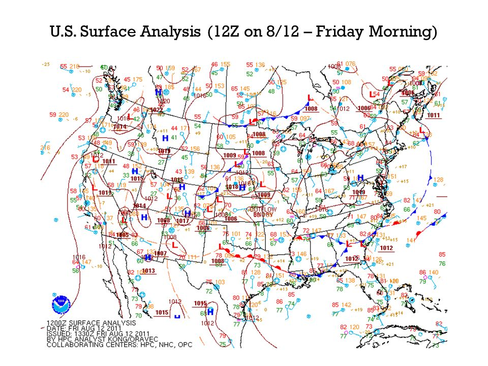 U.S. Surface Analysis (12Z on 8/12 – Friday Morning)