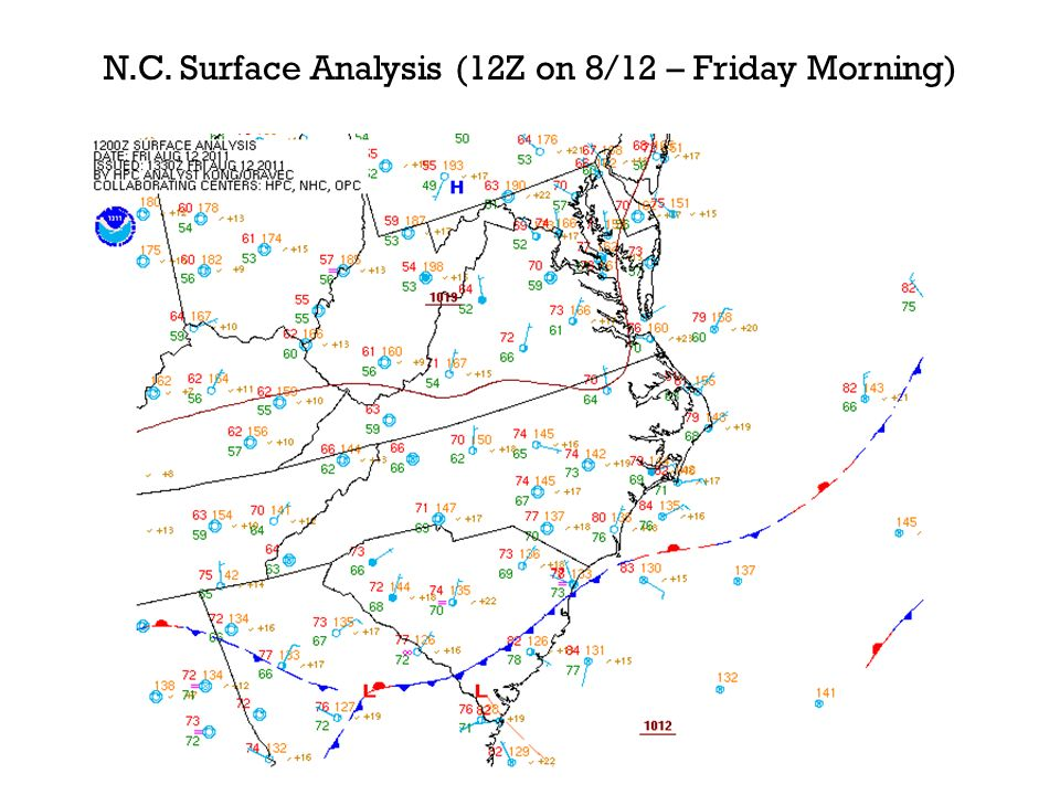 N.C. Surface Analysis (12Z on 8/12 – Friday Morning)