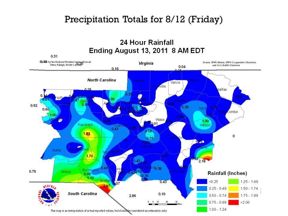 Precipitation Totals for 8/12 (Friday)