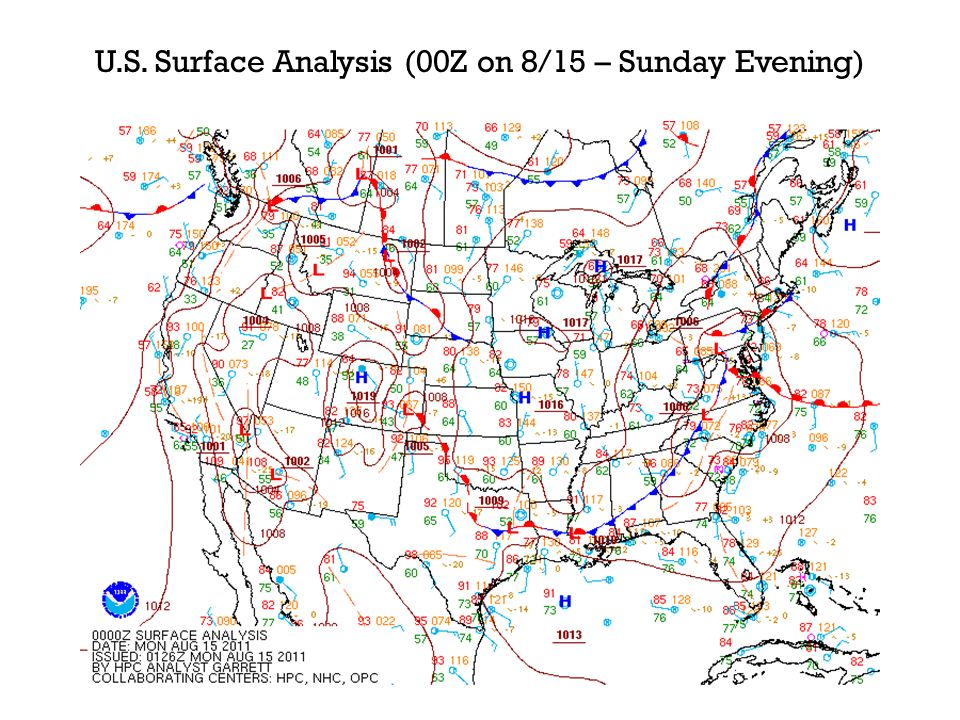 U.S. Surface Analysis (00Z on 8/15 – Sunday Evening)