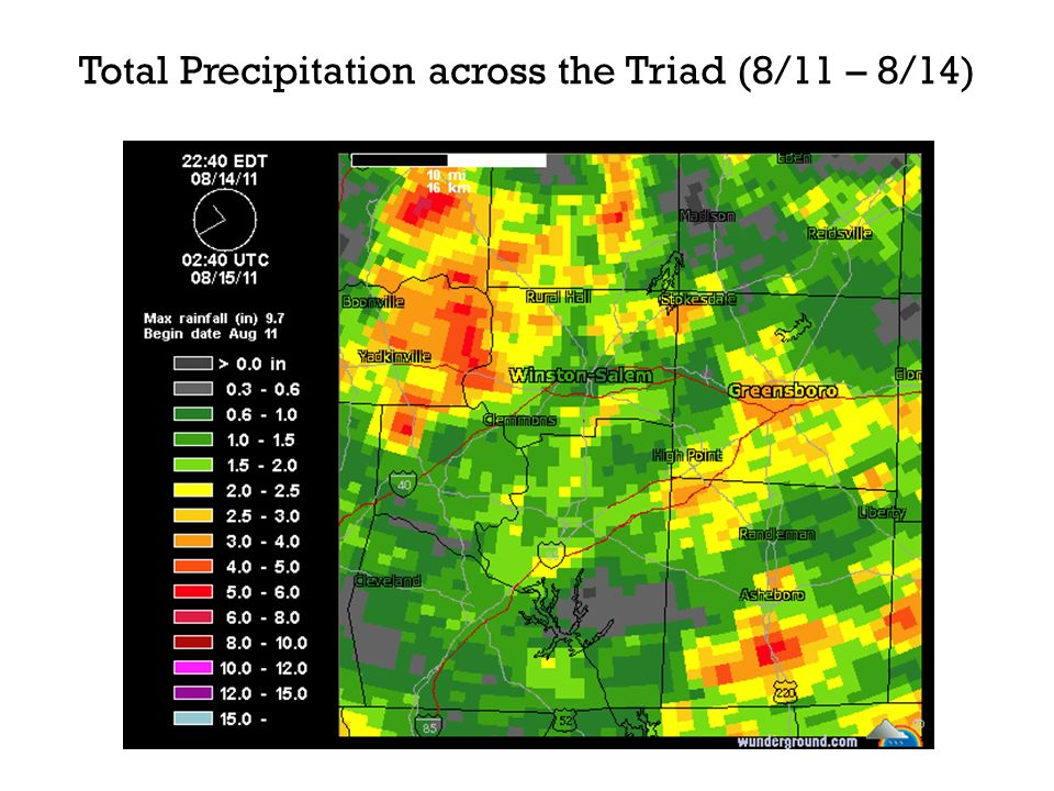 Total Precipitation across the Triad (8/11 – 8/14)