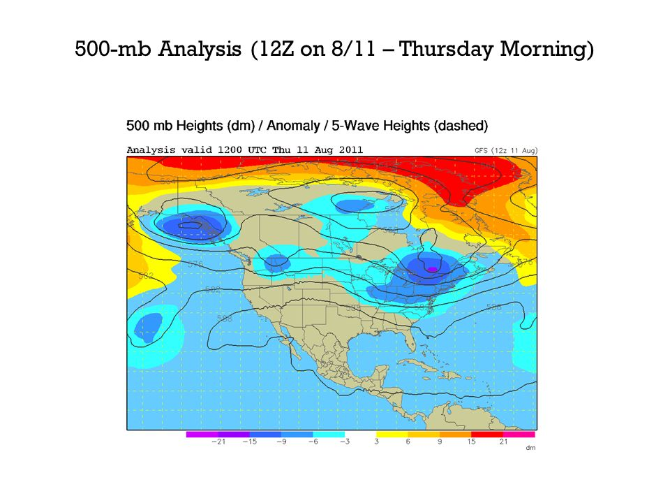 500-mb Analysis (12Z on 8/11 – Thursday Morning)
