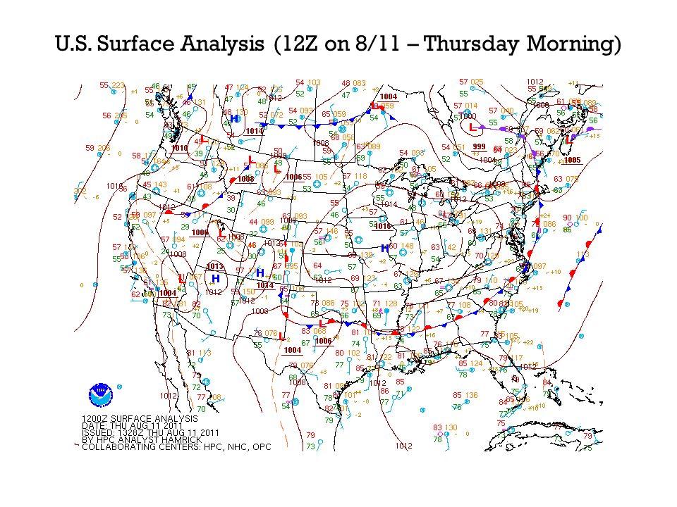 N.C. Surface Analysis (12Z on 8/11 – Thursday Morning)