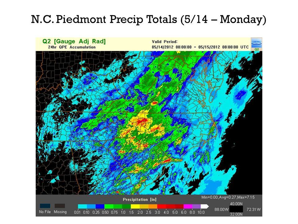 N.C. Piedmont Precip Totals (5/14 – Monday)