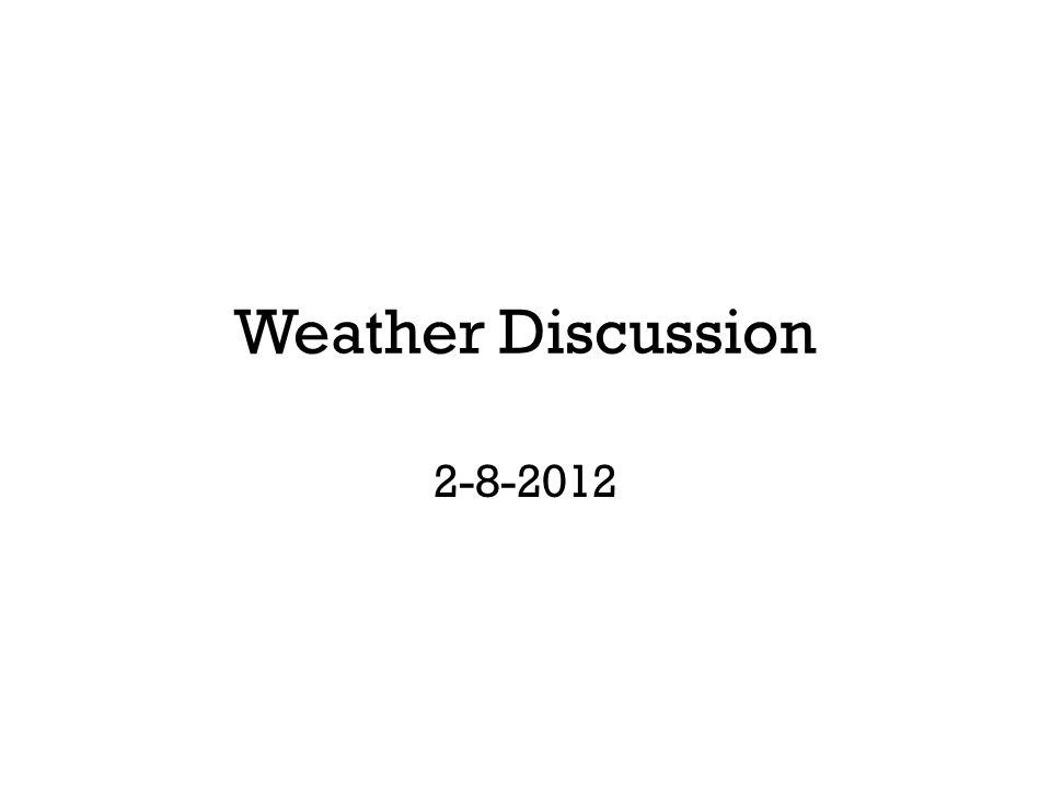 Weather Discussion 2-8-2012