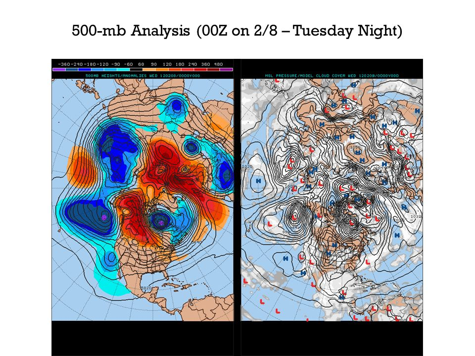 500-mb Analysis (00Z on 2/8 – Tuesday Night)