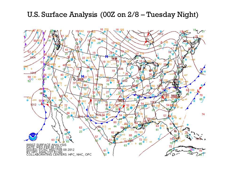 U.S. Surface Analysis (00Z on 2/8 – Tuesday Night)