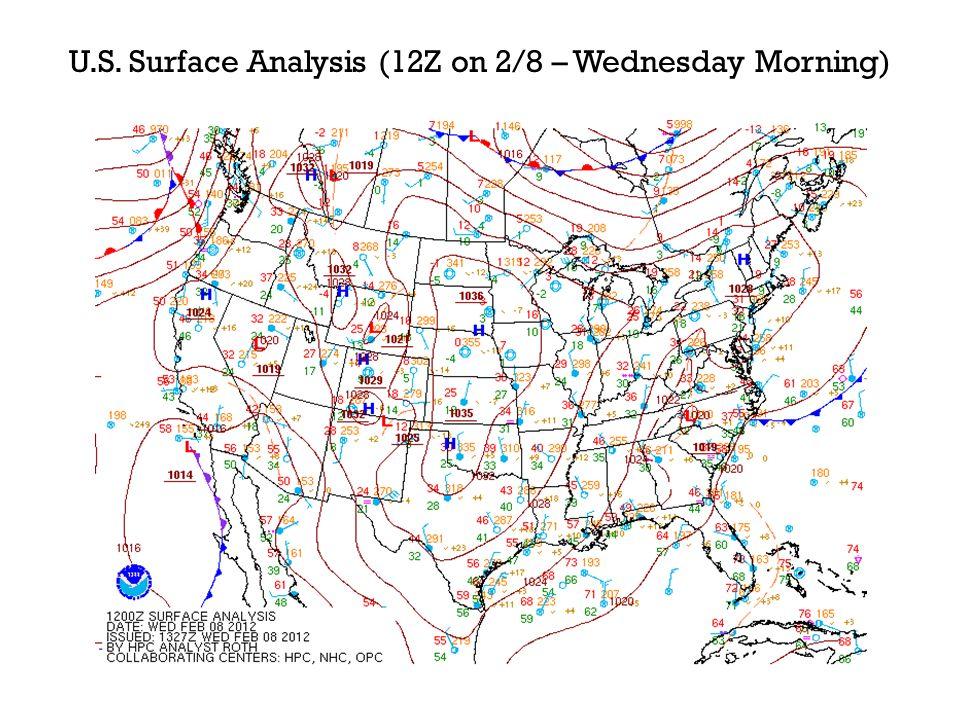 U.S. Surface Analysis (12Z on 2/8 – Wednesday Morning)
