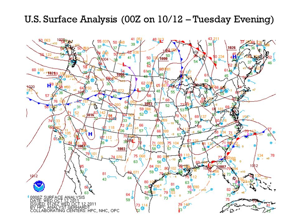 U.S. Surface Analysis (00Z on 10/12 – Tuesday Evening)