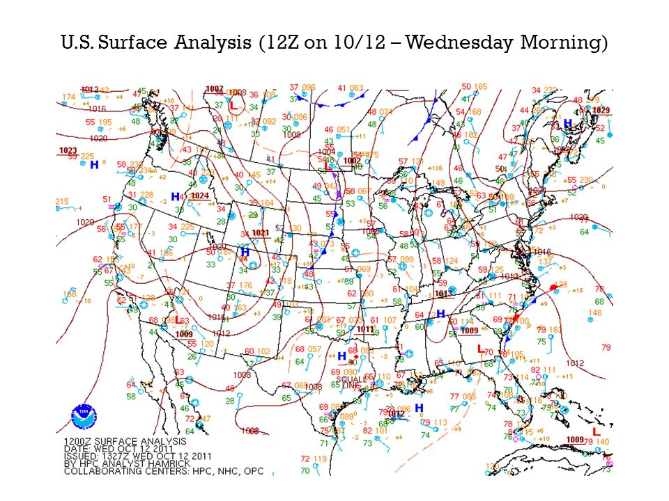 U.S. Surface Analysis (12Z on 10/12 – Wednesday Morning)