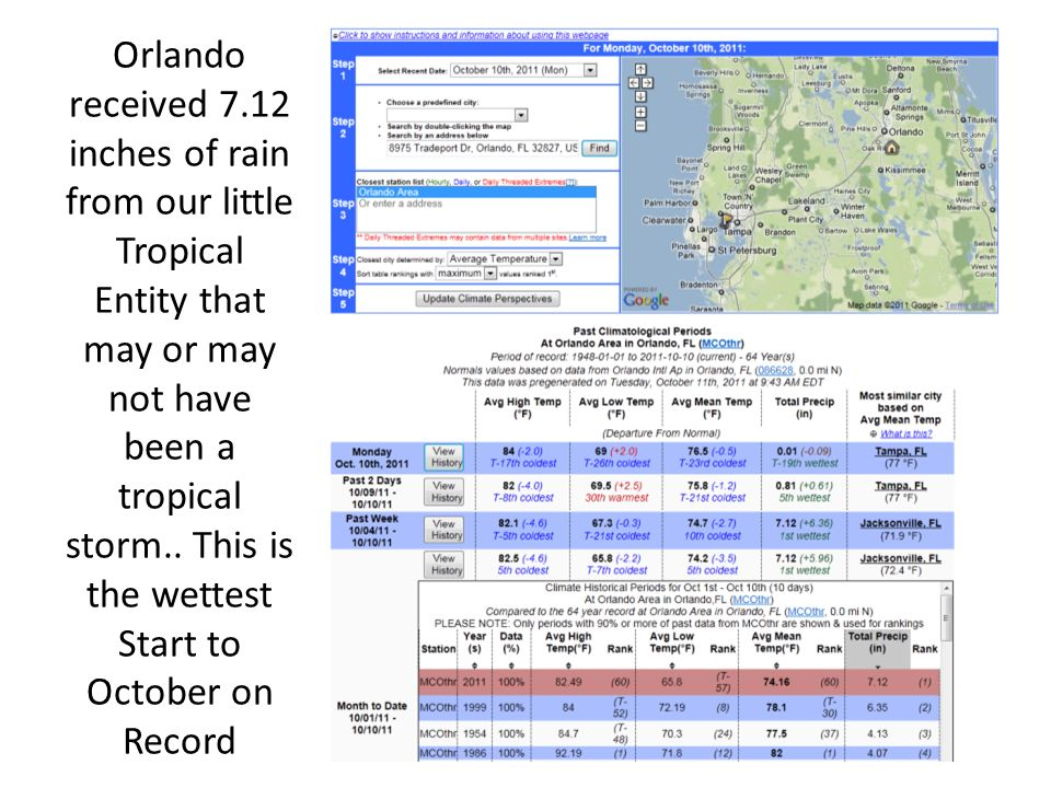 Orlando received 7.12 inches of rain from our little Tropical Entity that may or may not have been a tropical storm..