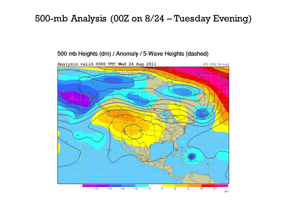 500-mb Analysis (00Z on 8/24 – Tuesday Evening)