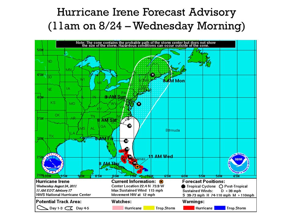 Hurricane Irene Forecast Advisory (11am on 8/24 – Wednesday Morning)