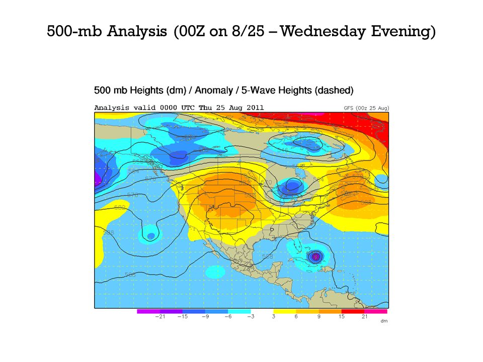 500-mb Analysis (00Z on 8/25 – Wednesday Evening)