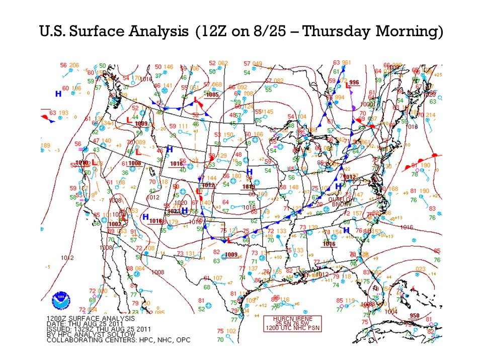 U.S. Surface Analysis (12Z on 8/25 – Thursday Morning)