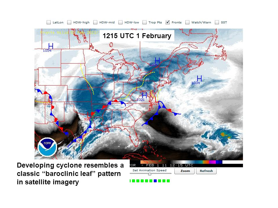 1215 UTC 1 February Developing cyclone resembles a classic baroclinic leaf pattern in satellite imagery