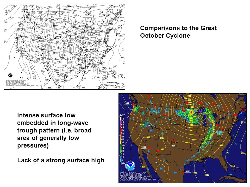 Comparisons to the Great October Cyclone Intense surface low embedded in long-wave trough pattern (i.e. broad area of generally low pressures) Lack of