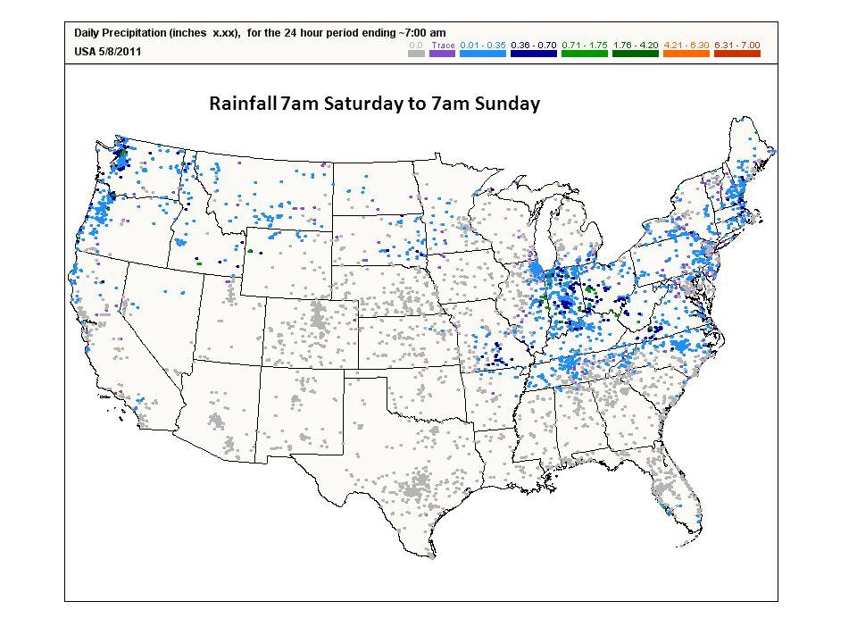 Rainfall 7am Saturday to 7am Sunday