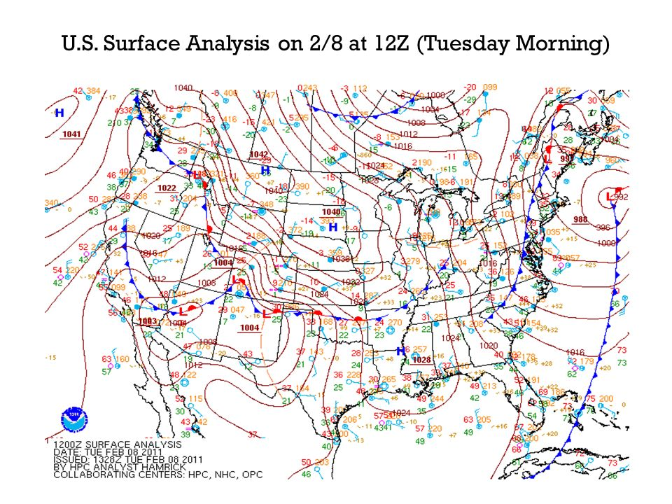 U.S. Surface Analysis on 2/8 at 12Z (Tuesday Morning)