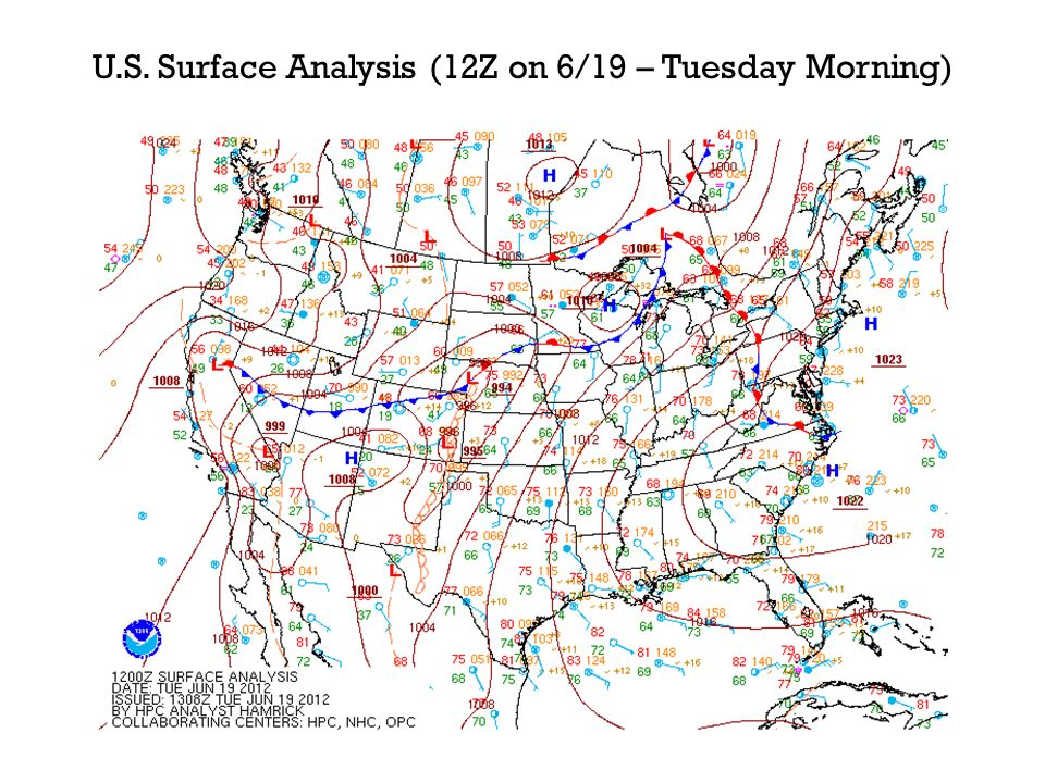 U.S. Surface Analysis (12Z on 6/19 – Tuesday Morning)