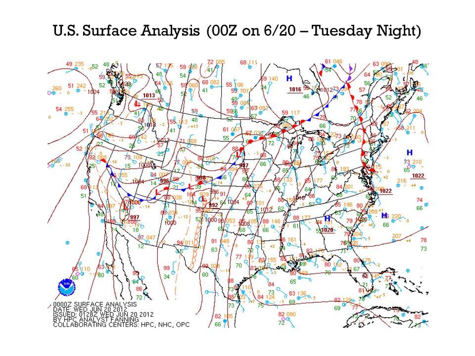U.S. Surface Analysis (00Z on 6/20 – Tuesday Night)