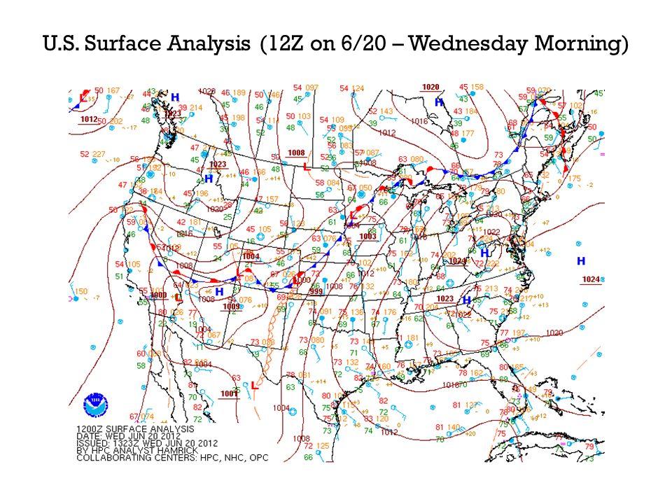 U.S. Surface Analysis (12Z on 6/20 – Wednesday Morning)