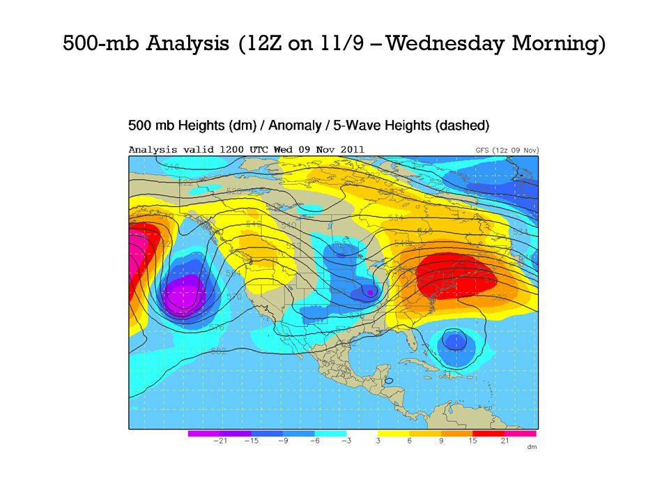 500-mb Analysis (12Z on 11/9 – Wednesday Morning)