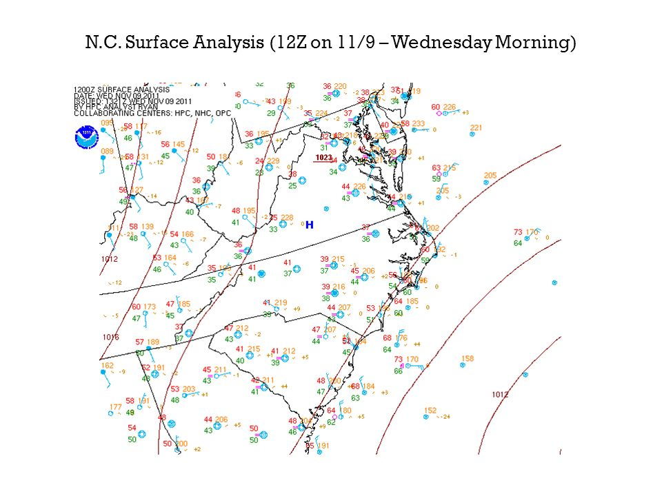 N.C. Surface Analysis (12Z on 11/9 – Wednesday Morning)