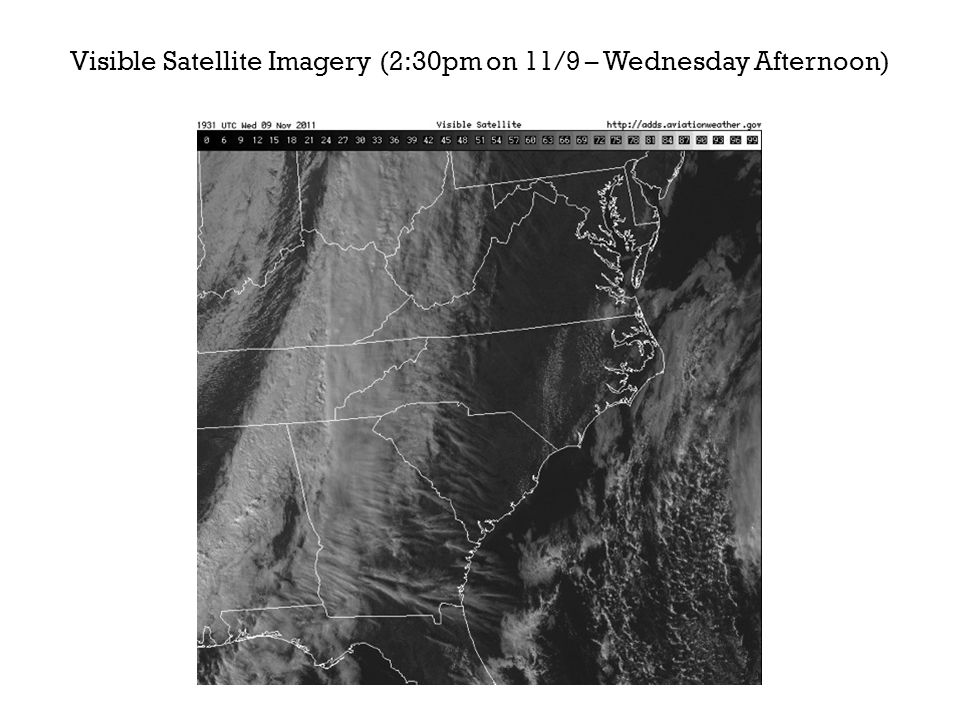 Visible Satellite Imagery (2:30pm on 11/9 – Wednesday Afternoon)